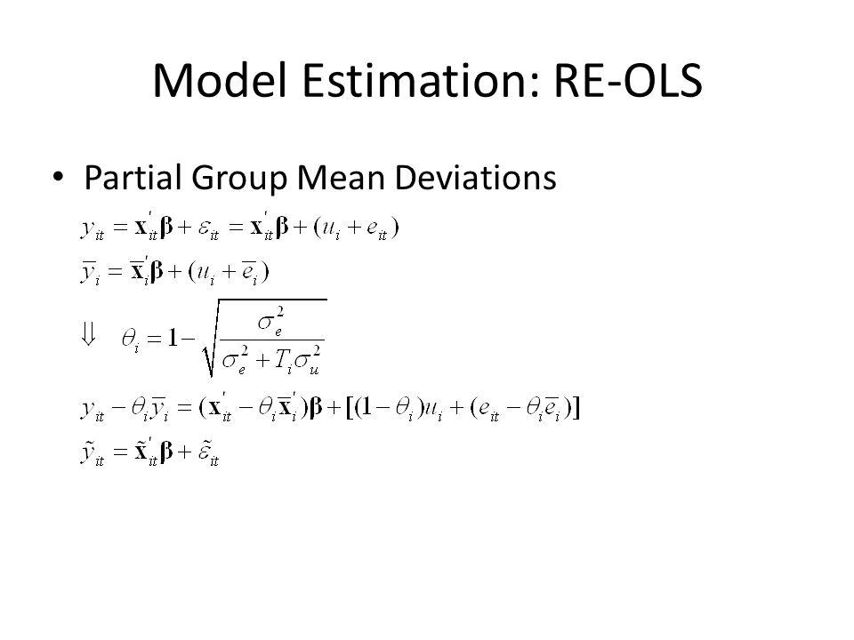 Model Estimation: RE-OLS Partial Group Mean Deviations