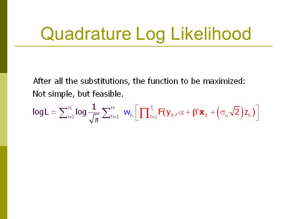 Quadrature Log Likelihood
