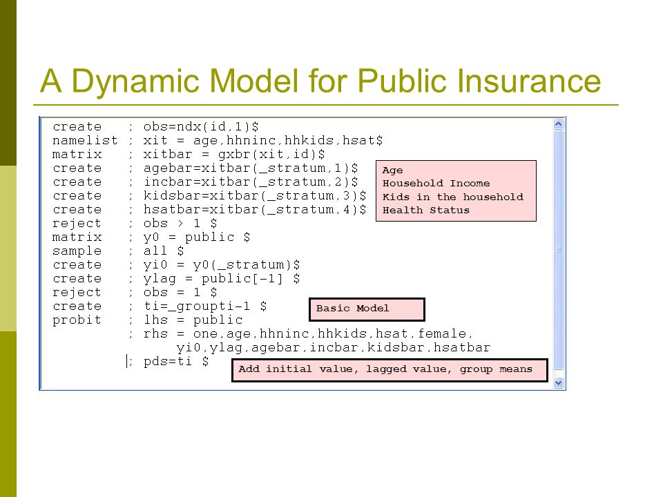 A Dynamic Model for Public Insurance Age Household Income Kids in the household Health Status Basic Model Add initial value, lagged value, group means