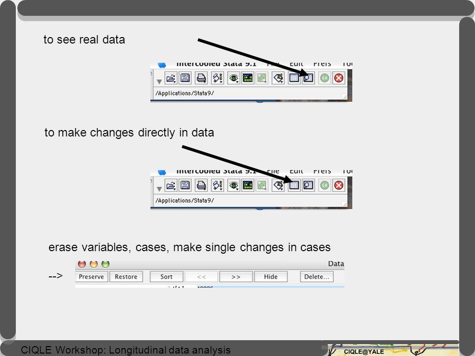 CIQLE Workshop: Longitudinal data analysis open data, with menu (stata data--> eventex.dta)