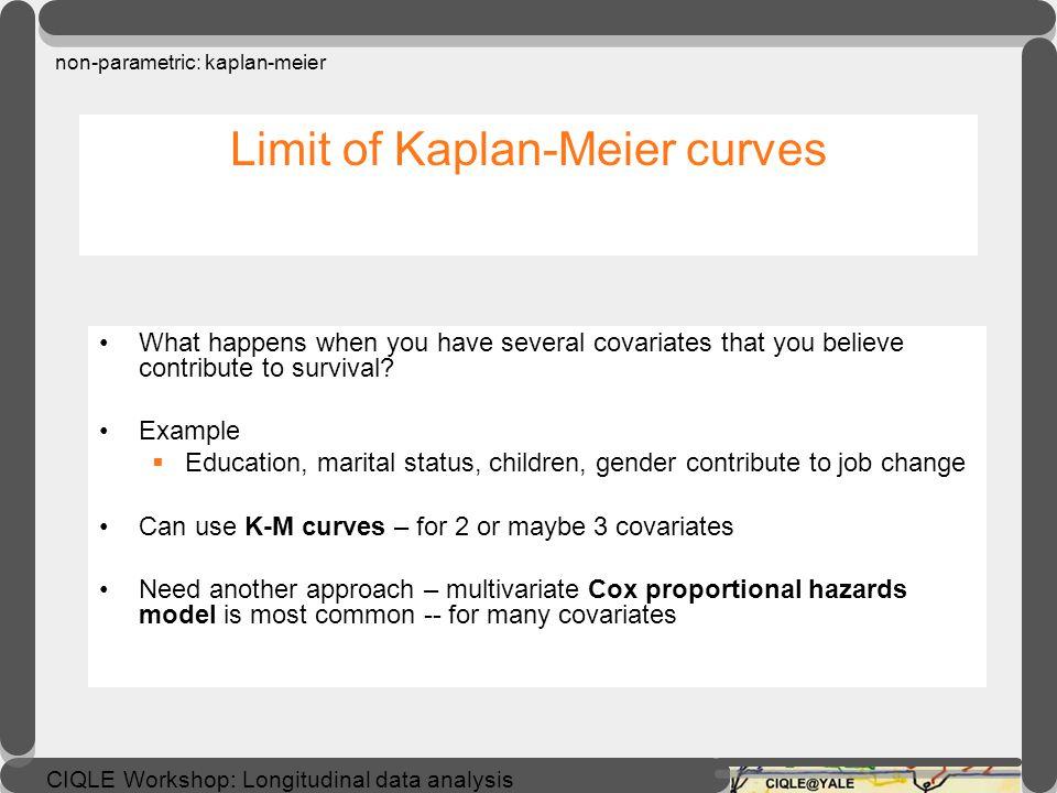 CIQLE Workshop: Longitudinal data analysis Comparing Kaplan-Meier curves non-parametric: kaplan-meier exercise: Test equality of survivor functions e.