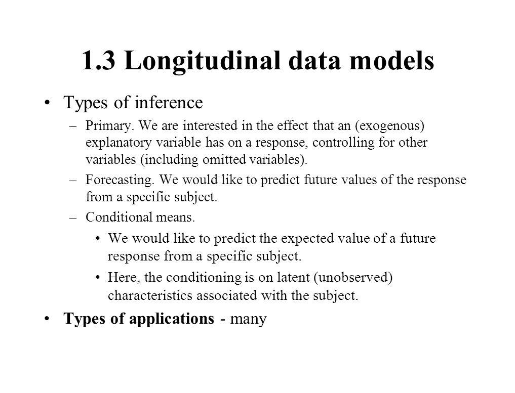 1.3 Longitudinal data models Types of inference –Primary.