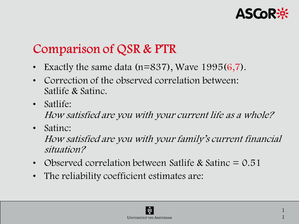 11 Comparison of QSR & PTR Exactly the same data (n=837), Wave 1995(6,7).