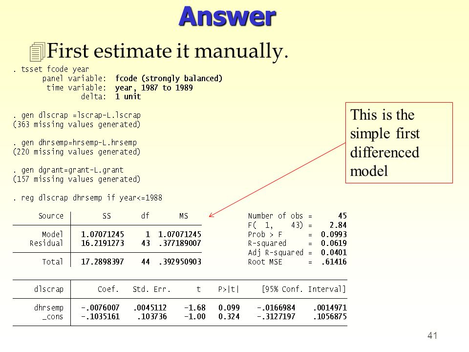 Answer 4First estimate it manually. 41 This is the simple first differenced model