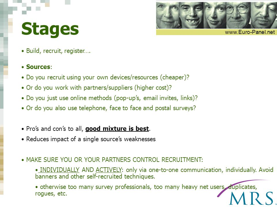 www.Euro-Panel.net Stages Build, recruit, register….