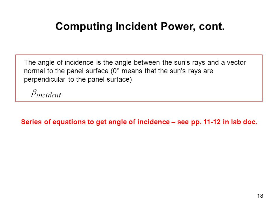 18 Computing Incident Power, cont.