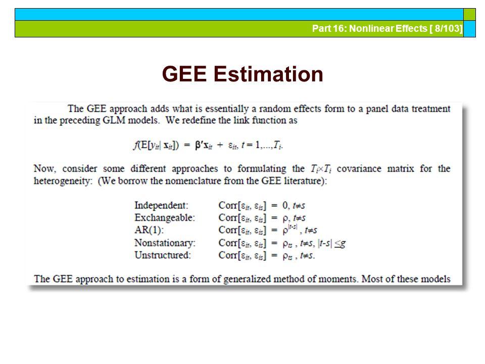 Part 16: Nonlinear Effects [ 39/103] Random Parameter Model ---------------------------------------------------------------------- Random Coefficients Probit Model Dependent variable DOCTOR (Quadrature Based) Log likelihood function -16296.68110 (-16290.72192) Restricted log likelihood -17701.08500 Chi squared [ 1 d.f.] 2808.80780 Simulation based on 50 Halton draws --------+------------------------------------------------- Variable| Coefficient Standard Error b/St.Er.