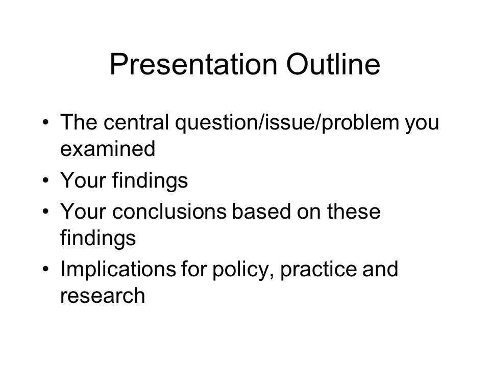 For a work in progress, you might include Initial findings Challenges or interesting issues encountered (process is interesting to fellow students) Next steps Anticipated results How you hope your work will inform others