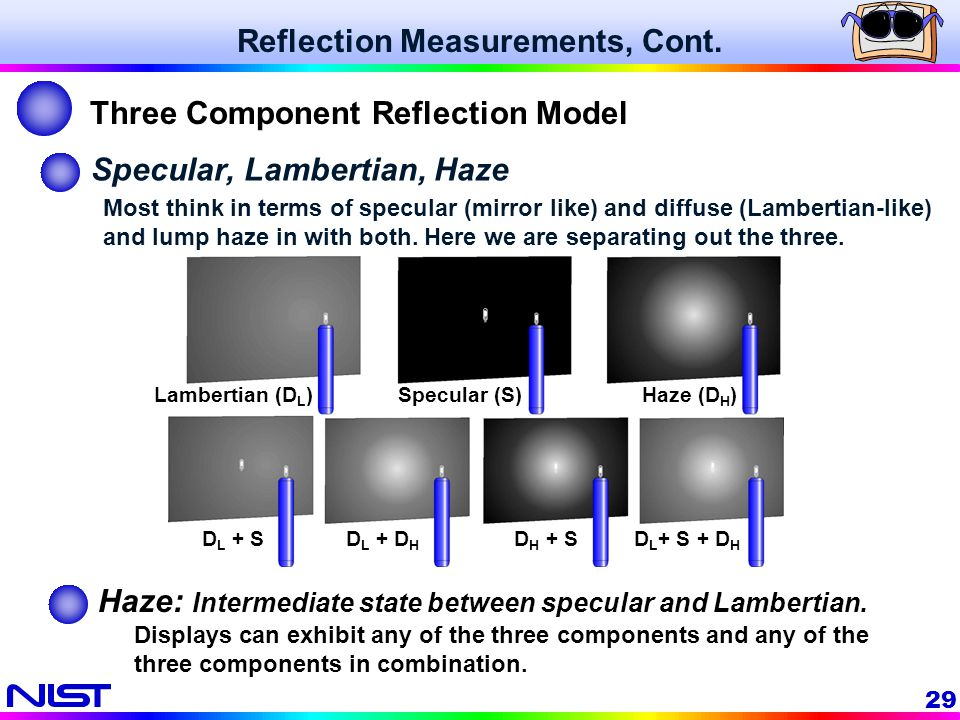 29 Specular, Lambertian, Haze Most think in terms of specular (mirror like) and diffuse (Lambertian-like) and lump haze in with both. Here we are sepa