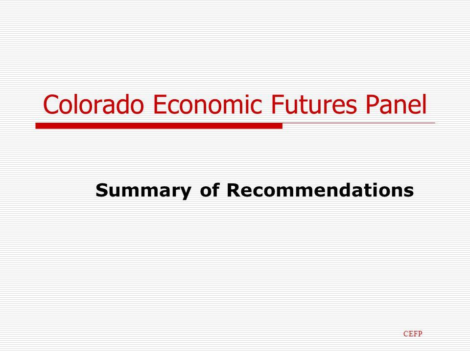 Colorado Economic Futures Panel Summary of Recommendations CEFP