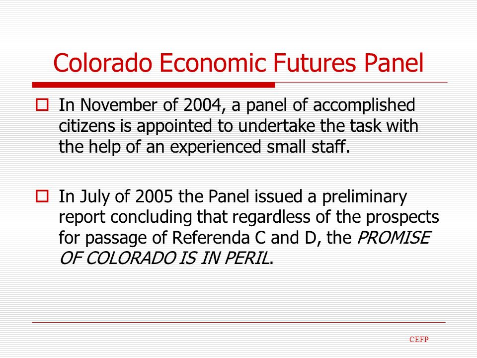 Colorado Economic Futures Panel In November of 2004, a panel of accomplished citizens is appointed to undertake the task with the help of an experienced small staff.