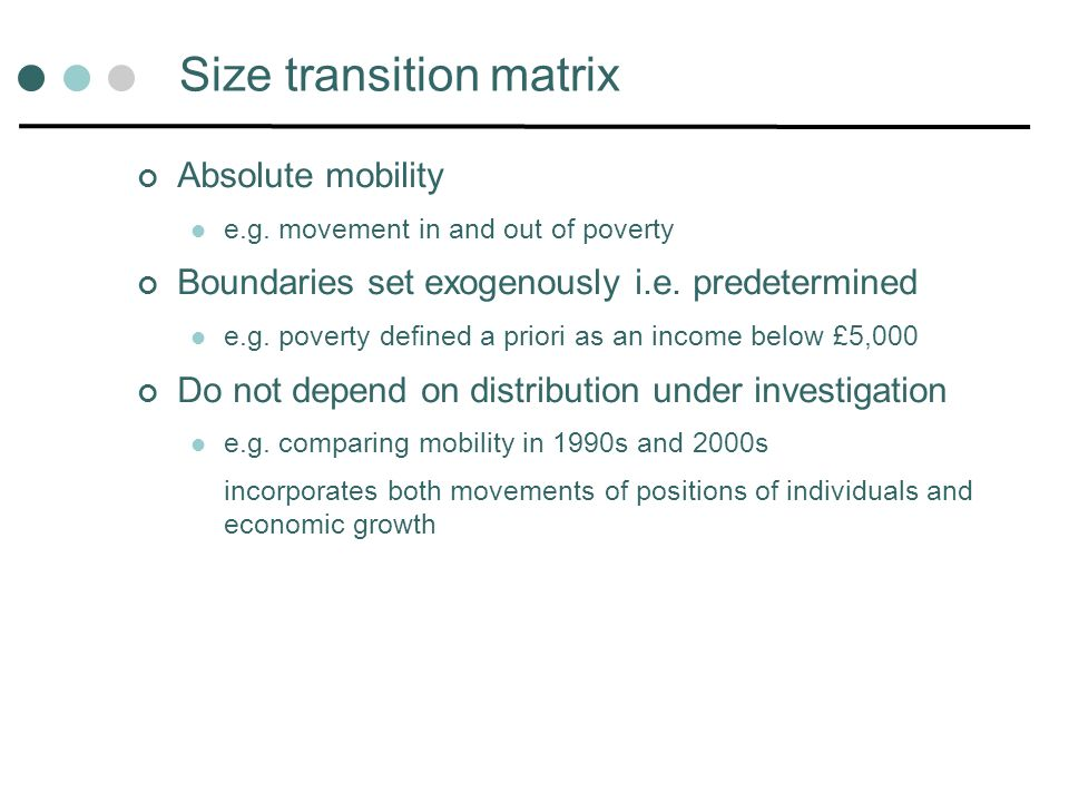 Size transition matrix Absolute mobility e.g.