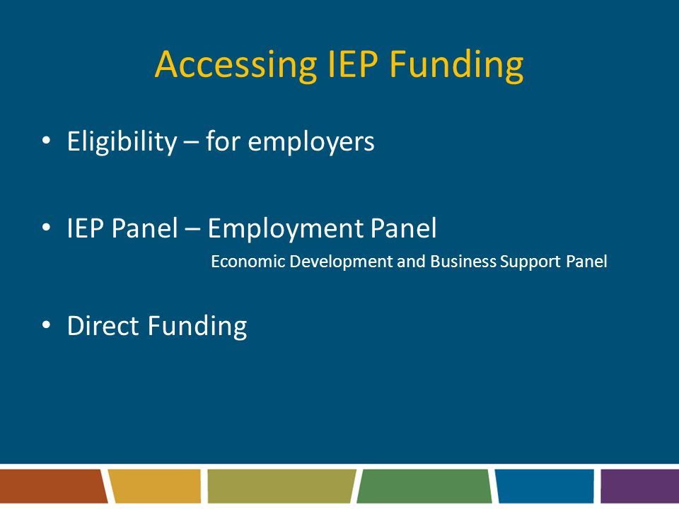 Accessing IEP Funding Eligibility – for employers IEP Panel – Employment Panel Economic Development and Business Support Panel Direct Funding