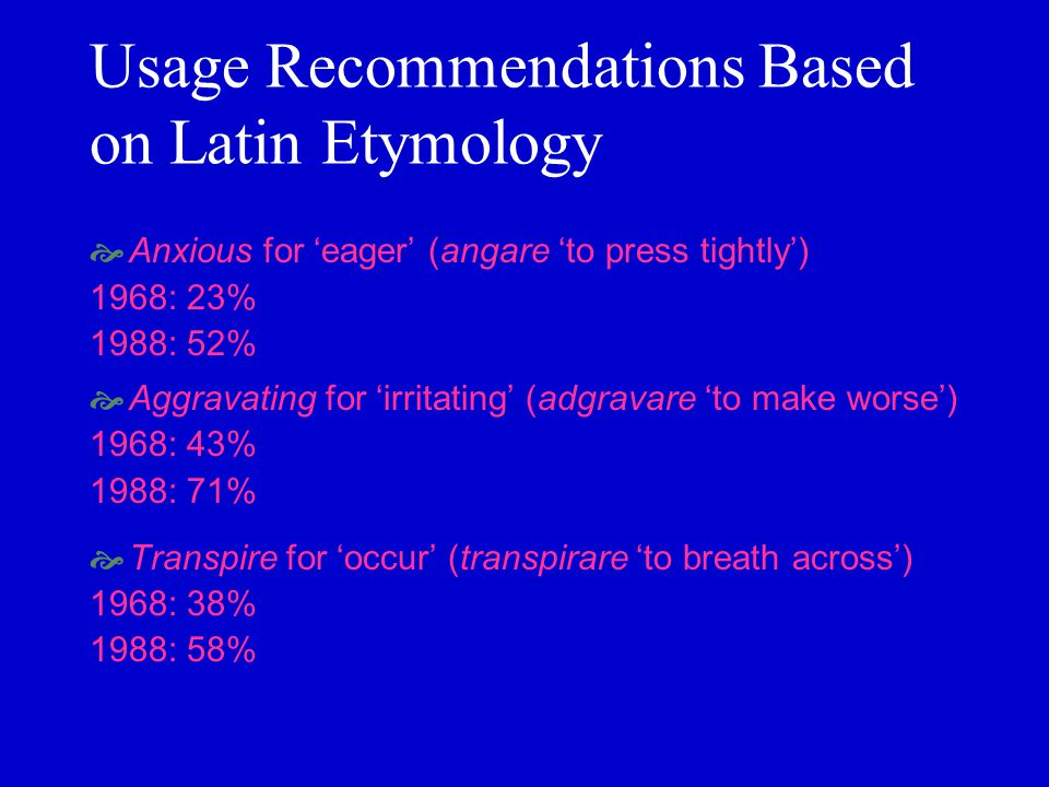 Usage Recommendations Based on Latin Etymology Anxious for eager (angare to press tightly) 1968: 23% 1988: 52% Aggravating for irritating (adgravare t