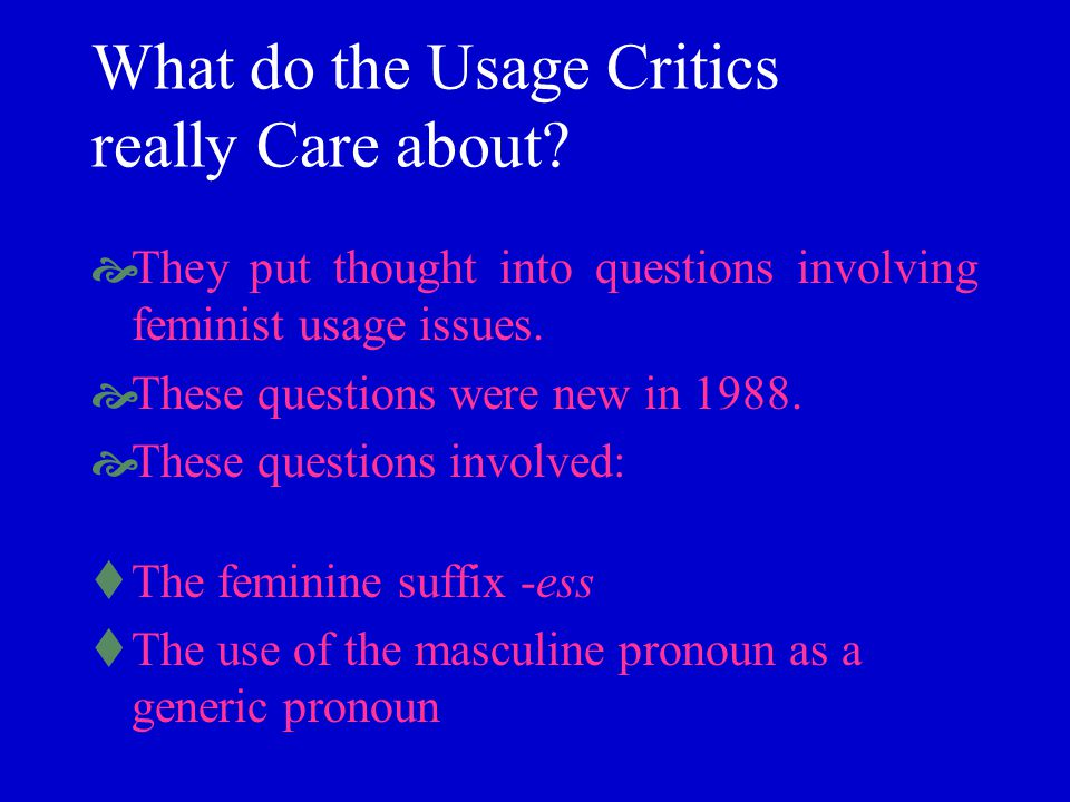 What do the Usage Critics really Care about? They put thought into questions involving feminist usage issues. These questions were new in 1988. These