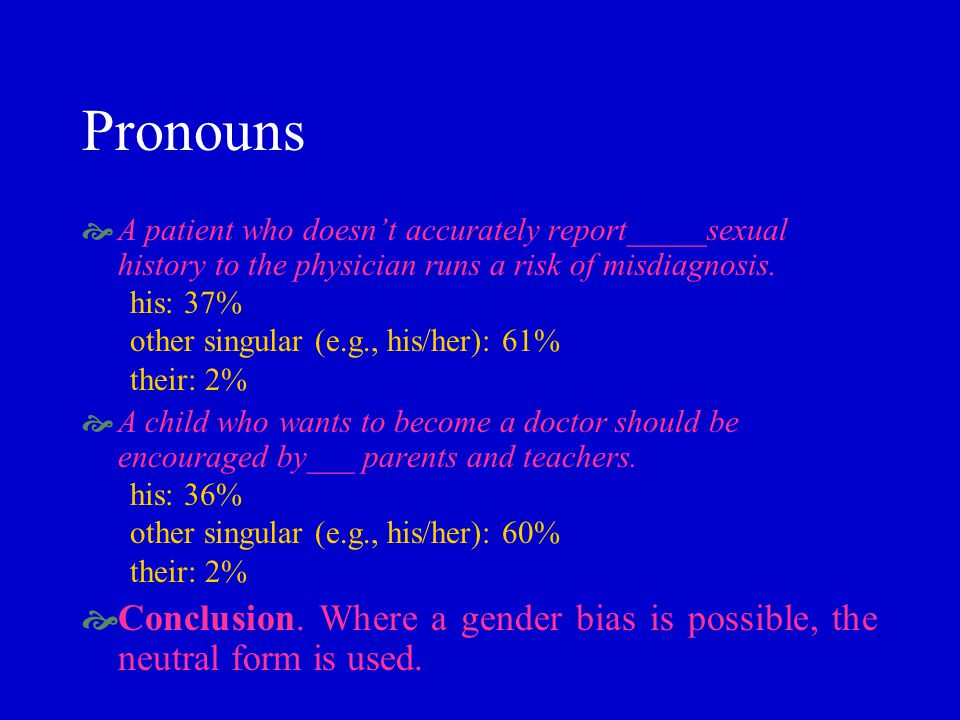 Pronouns A patient who doesnt accurately report_____sexual history to the physician runs a risk of misdiagnosis.