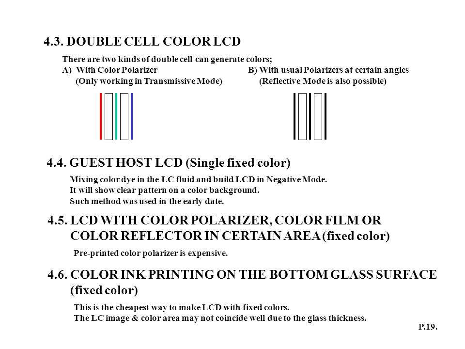 4.3. DOUBLE CELL COLOR LCD There are two kinds of double cell can generate colors; A) With Color PolarizerB) With usual Polarizers at certain angles (