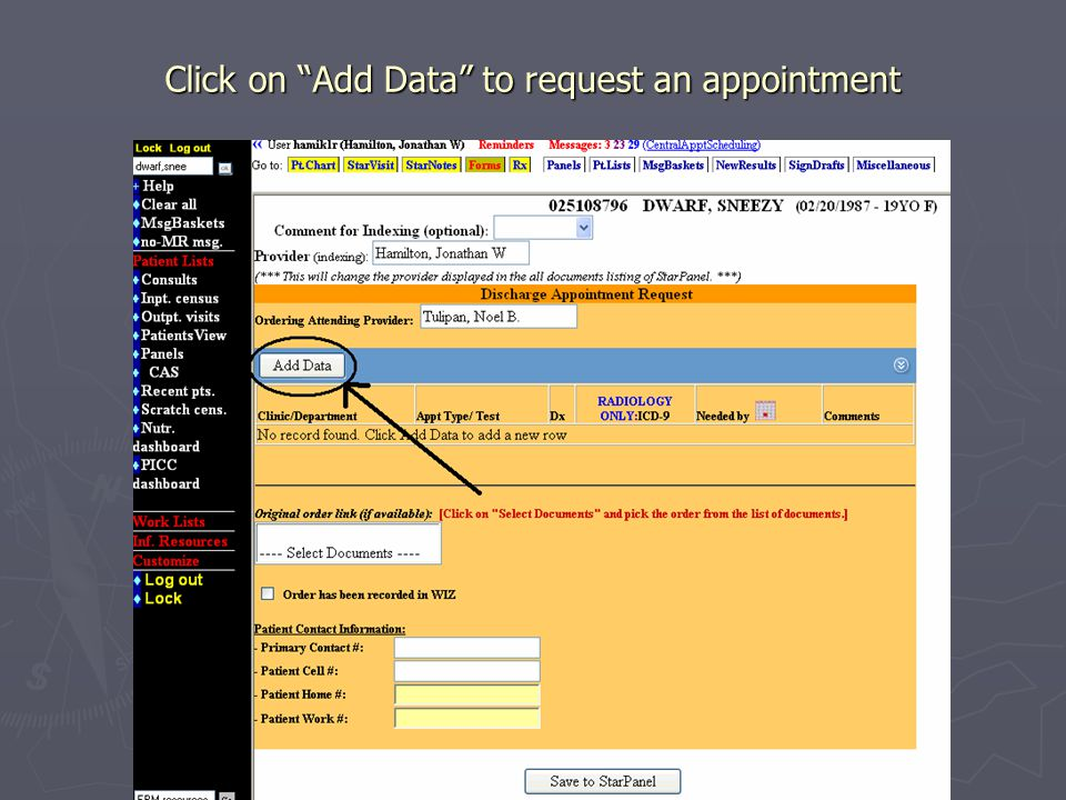Click on Add Data to request an appointment