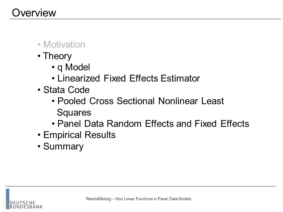 Ramb&Reitzig – Non Linear Functions in Panel Data Models Thank you for your attention