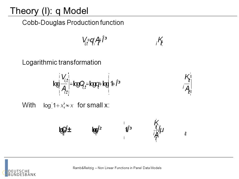 Ramb&Reitzig – Non Linear Functions in Panel Data Models Cobb-Douglas Production function Theory (I): q Model Logarithmic transformation With for small x: