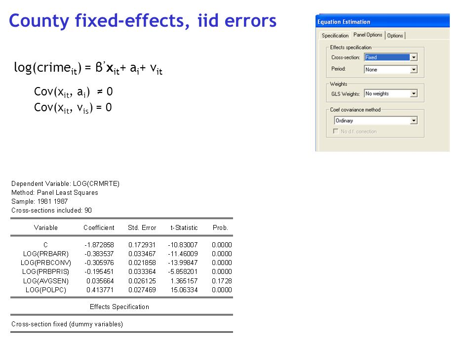County fixed-effects, iid errors log(crime it ) = β x it + a i + v it Cov(x it, a i ) 0 Cov(x it, v is ) = 0