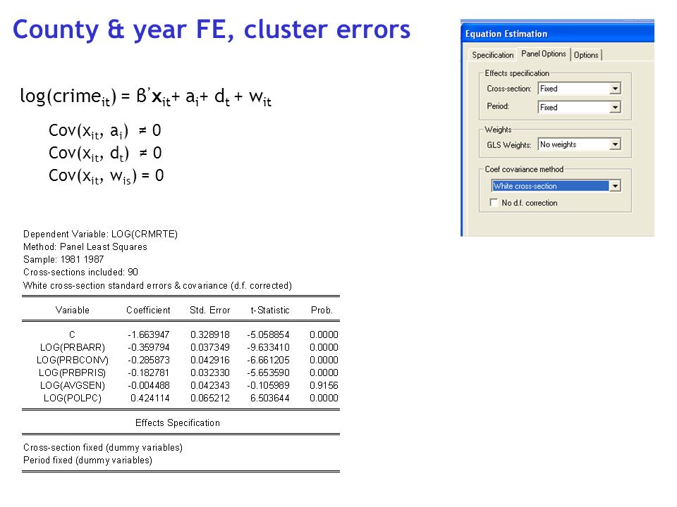 County & year FE, cluster errors log(crime it ) = β x it + a i + d t + w it Cov(x it, a i ) 0 Cov(x it, d t ) 0 Cov(x it, w is ) = 0