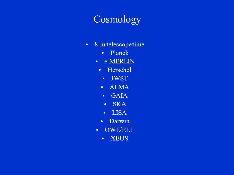 Cosmology 8-m telescope time Planck e-MERLIN Herschel JWST ALMA GAIA SKA LISA Darwin OWL/ELT XEUS