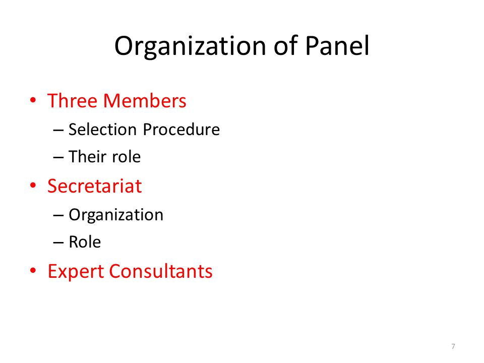 7 Organization of Panel Three Members – Selection Procedure – Their role Secretariat – Organization – Role Expert Consultants
