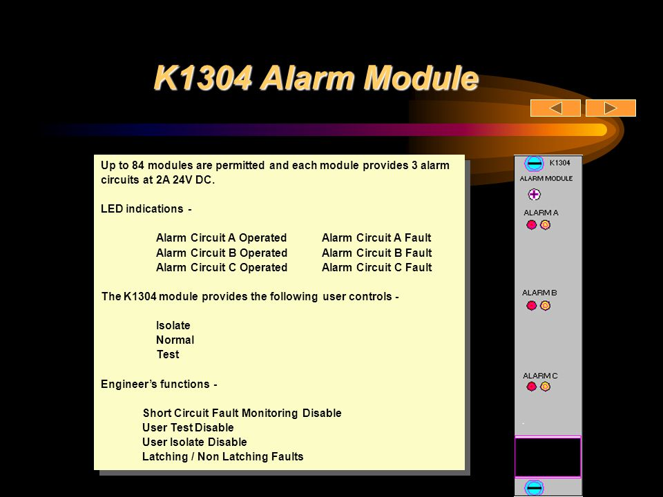 K1304 Alarm Module Up to 84 modules are permitted and each module provides 3 alarm circuits at 2A 24V DC. LED indications - Alarm Circuit A OperatedAl
