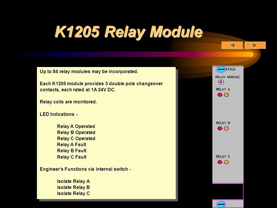 K1205 Relay Module Up to 84 relay modules may be incorporated. Each K1205 module provides 3 double pole changeover contacts, each rated at 1A 24V DC.