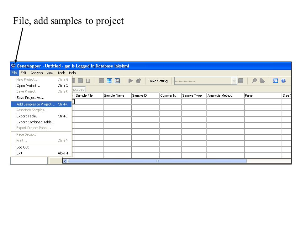 File, add samples to project