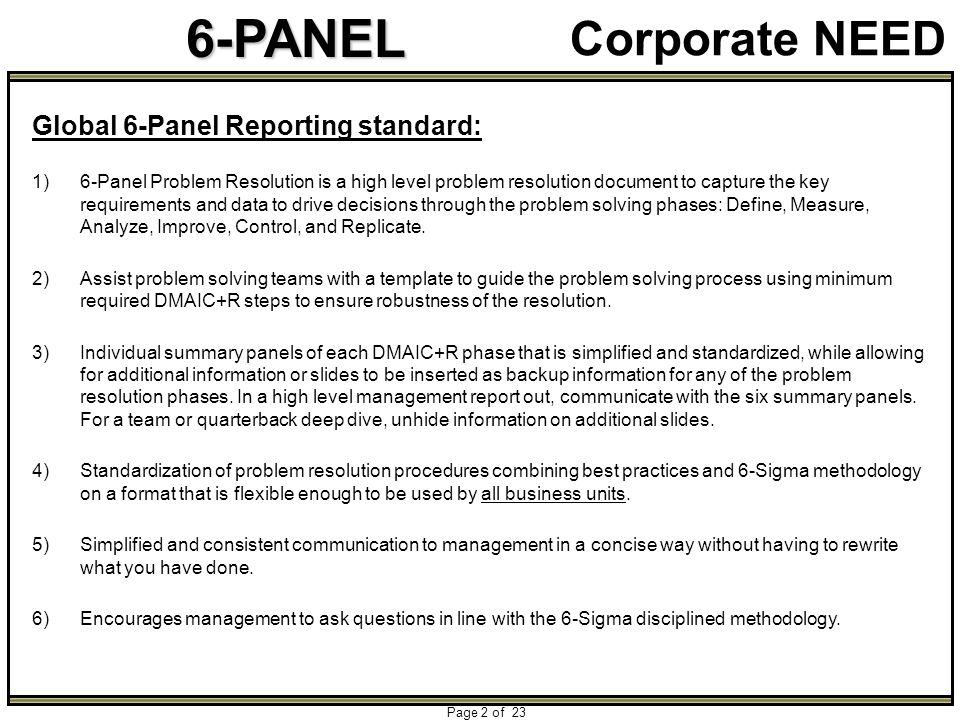 6-PANEL Page 2 of 23 Corporate NEED Global 6-Panel Reporting standard: 1)6-Panel Problem Resolution is a high level problem resolution document to cap