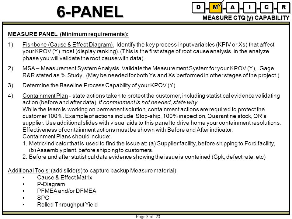 6-PANEL Page 8 of 23 MEASURE CTQ (y) CAPABILITY DDMMAAIICCRR MEASURE PANEL (Minimum requirements): 1)Fishbone (Cause & Effect Diagram). Identify the k