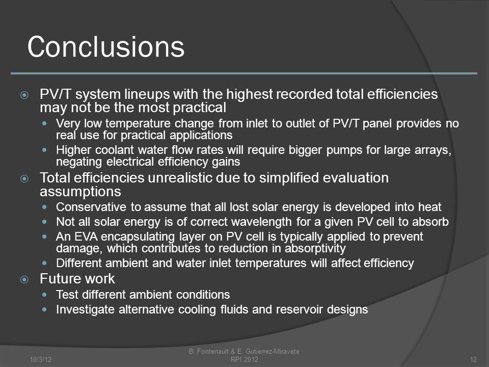 Conclusions 10/3/12 B. Fontenault & E.