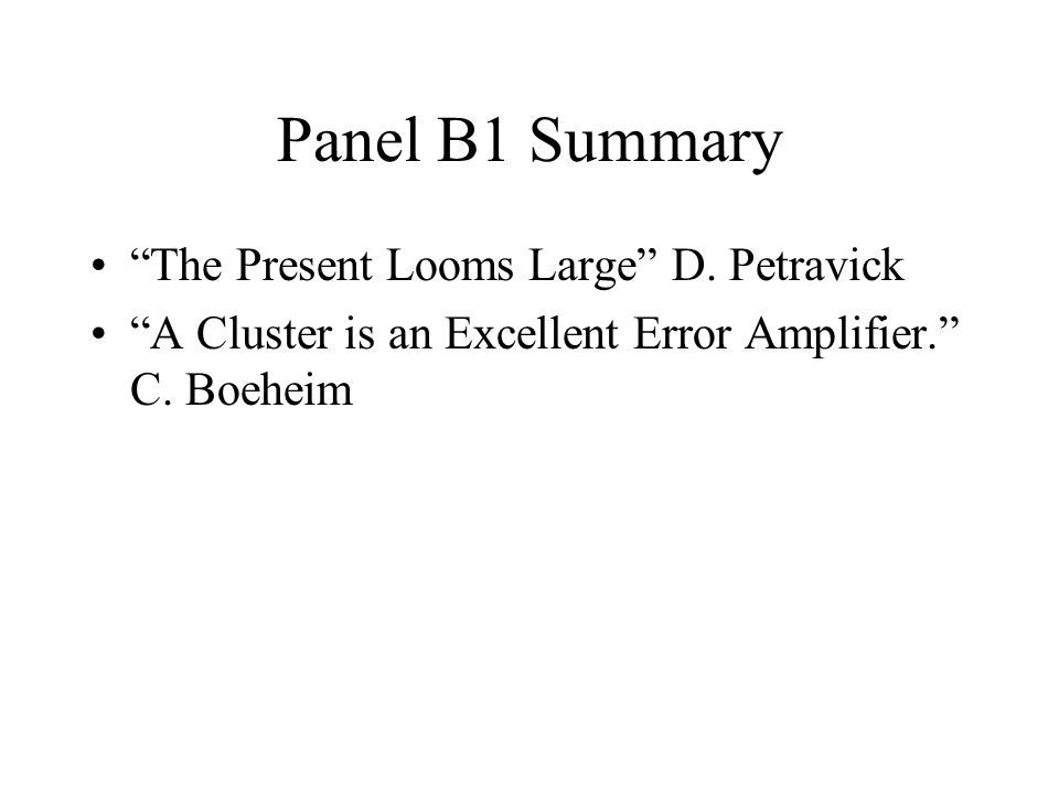 Panel B1 Summary The Present Looms Large D. Petravick A Cluster is an Excellent Error Amplifier. C. Boeheim