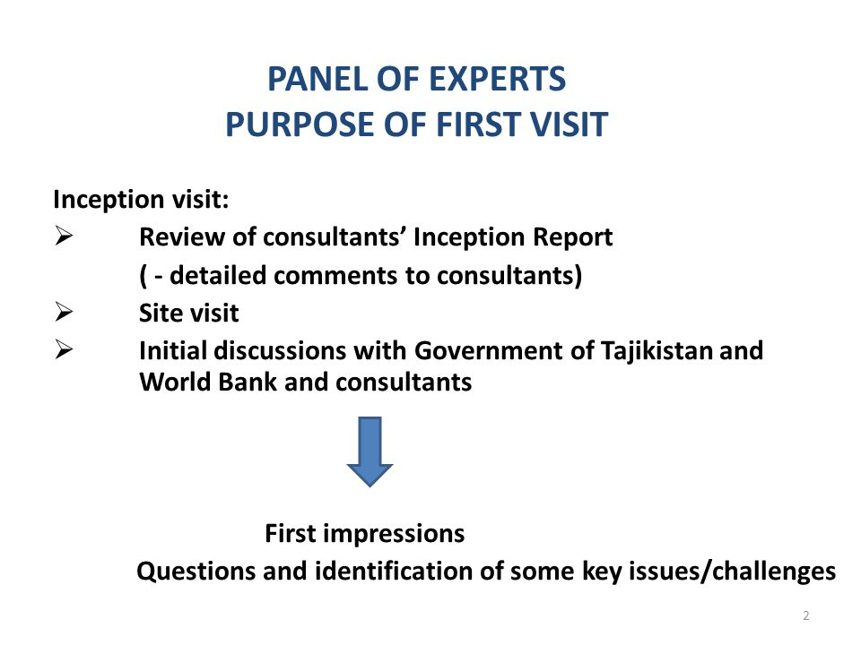 PANEL OF EXPERTS PURPOSE OF FIRST VISIT Inception visit: Review of consultants Inception Report ( - detailed comments to consultants) Site visit Initial discussions with Government of Tajikistan and World Bank and consultants First impressions Questions and identification of some key issues/challenges 2