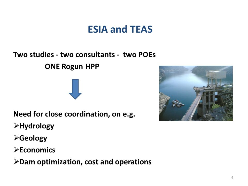 ESIA and TEAS Two studies - two consultants - two POEs ONE Rogun HPP Need for close coordination, on e.g.