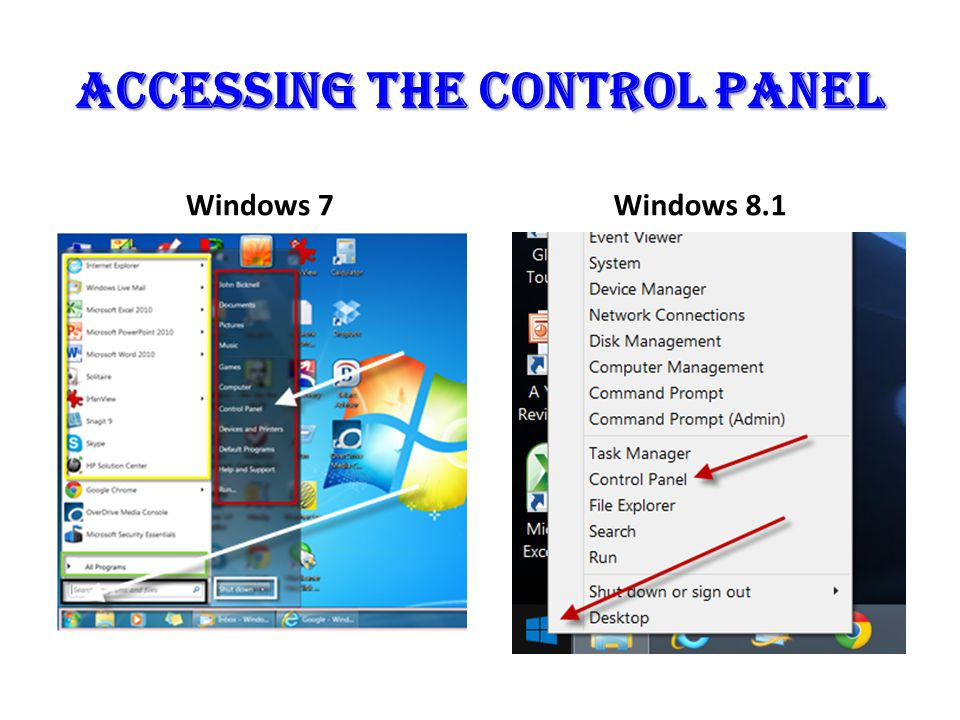 Accessing the control panel Windows 7Windows 8.1
