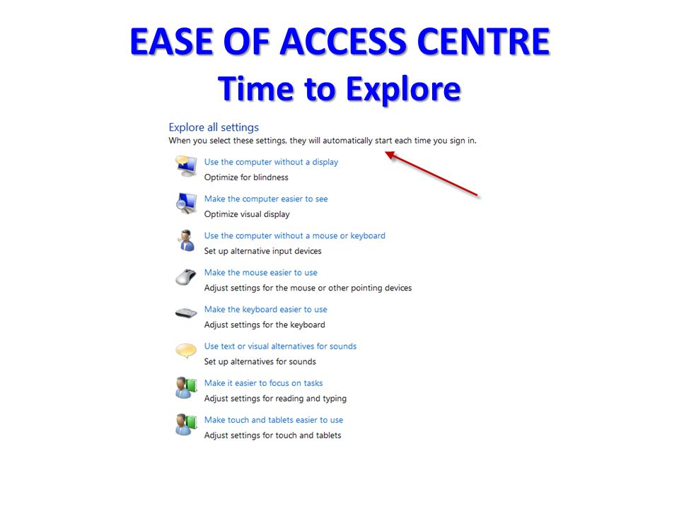 EASE OF ACCESS CENTRE Time to Explore