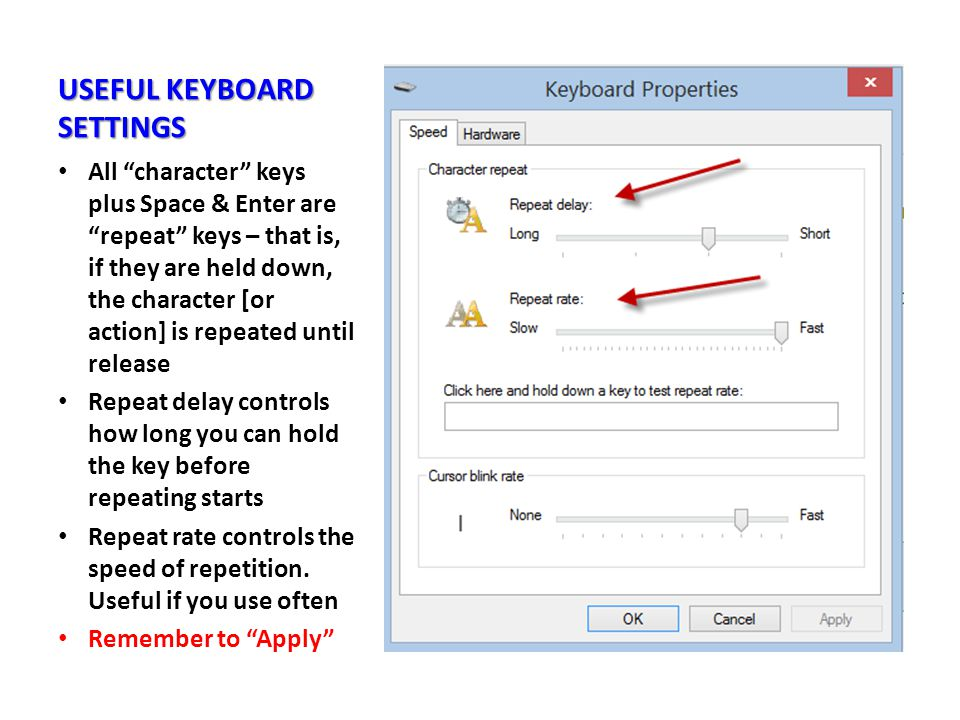 USEFUL KEYBOARD SETTINGS All character keys plus Space & Enter are repeat keys – that is, if they are held down, the character [or action] is repeated until release Repeat delay controls how long you can hold the key before repeating starts Repeat rate controls the speed of repetition.