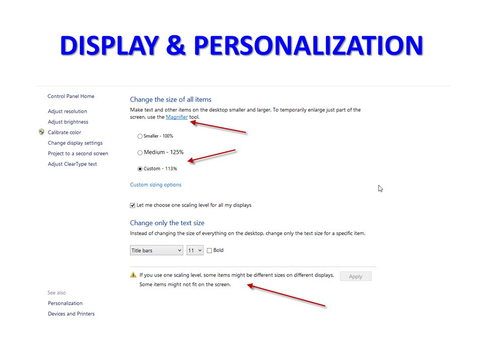 DISPLAY & PERSONALIZATION