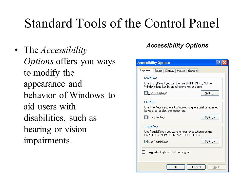 Standard Tools of the Control Panel The Accessibility Options offers you ways to modify the appearance and behavior of Windows to aid users with disab