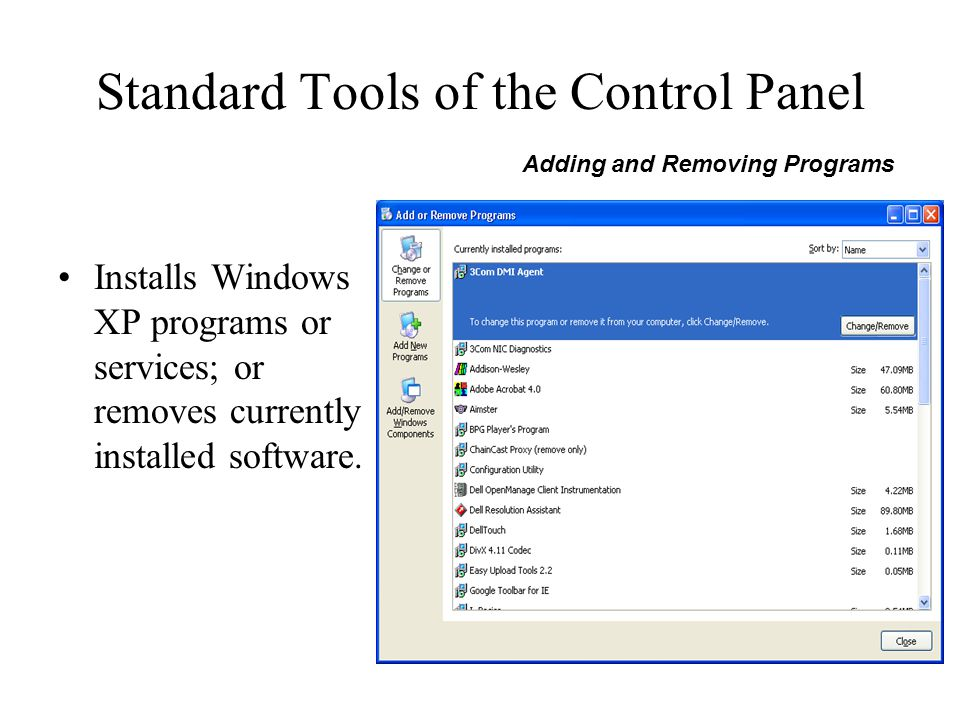 Standard Tools of the Control Panel Installs Windows XP programs or services; or removes currently installed software. Adding and Removing Programs