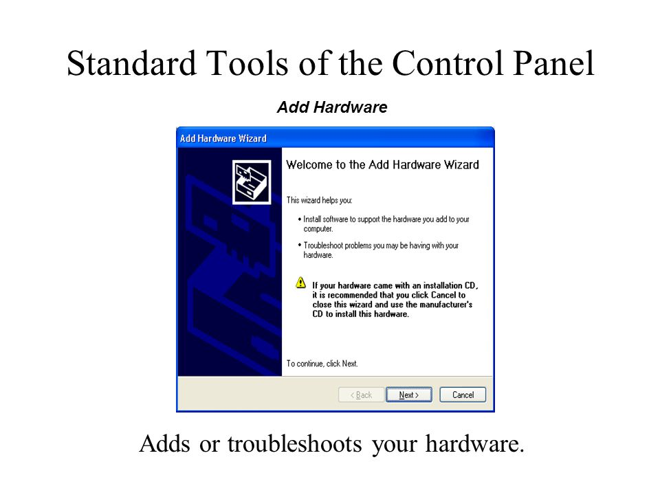 Standard Tools of the Control Panel Adds or troubleshoots your hardware. Add Hardware