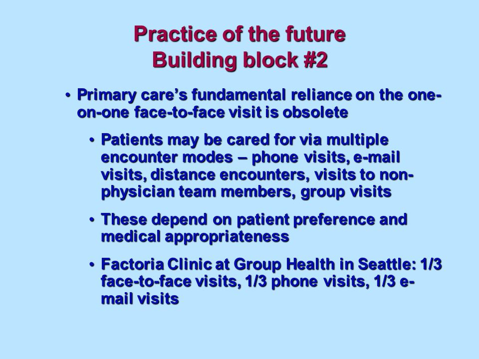 Practice of the future Building block #2 Primary cares fundamental reliance on the one- on-one face-to-face visit is obsolete Primary cares fundamental reliance on the one- on-one face-to-face visit is obsolete Patients may be cared for via multiple encounter modes – phone visits, e-mail visits, distance encounters, visits to non- physician team members, group visits Patients may be cared for via multiple encounter modes – phone visits, e-mail visits, distance encounters, visits to non- physician team members, group visits These depend on patient preference and medical appropriateness These depend on patient preference and medical appropriateness Factoria Clinic at Group Health in Seattle: 1/3 face-to-face visits, 1/3 phone visits, 1/3 e- mail visits Factoria Clinic at Group Health in Seattle: 1/3 face-to-face visits, 1/3 phone visits, 1/3 e- mail visits