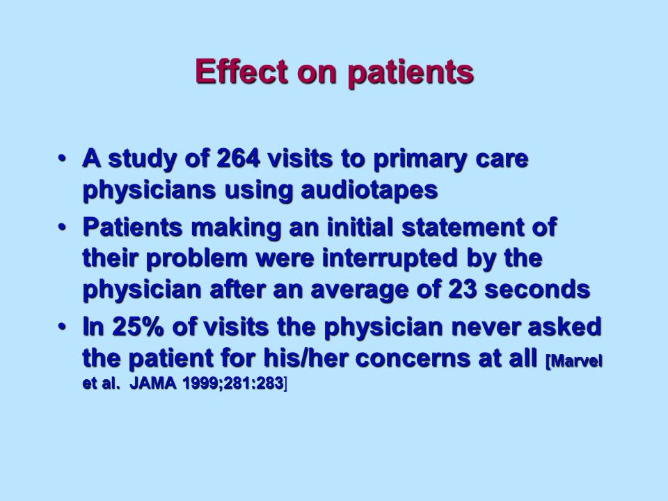 Effect on patients A study of 264 visits to primary care physicians using audiotapesA study of 264 visits to primary care physicians using audiotapes