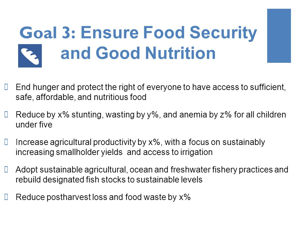 Goal 3: Ensure Food Security and Good Nutrition End hunger and protect the right of everyone to have access to sufficient, safe, affordable, and nutritious food Reduce by x% stunting, wasting by y%, and anemia by z% for all children under five Increase agricultural productivity by x%, with a focus on sustainably increasing smallholder yields and access to irrigation Adopt sustainable agricultural, ocean and freshwater fishery practices and rebuild designated fish stocks to sustainable levels Reduce postharvest loss and food waste by x%