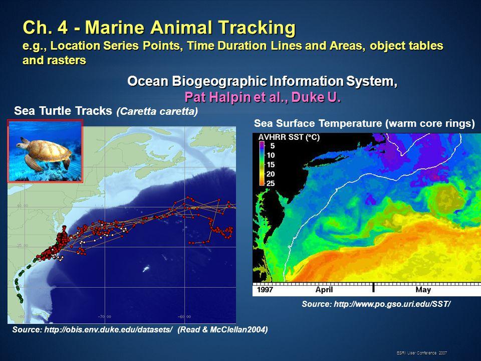 ESRI User Conference 2007 Source: http://www.po.gso.uri.edu/SST/ Sea Turtle Tracks (Caretta caretta) Sea Surface Temperature (warm core rings) Source: http://obis.env.duke.edu/datasets/ (Read & McClellan2004) Ocean Biogeographic Information System, Pat Halpin et al., Duke U.