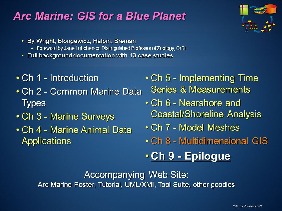 ESRI User Conference 2007 Arc Marine: GIS for a Blue Planet By Wright, Blongewicz, Halpin, BremanBy Wright, Blongewicz, Halpin, Breman –Foreword by Jane Lubchenco, Distinguished Professor of Zoology, OrSt Full background documentation with 13 case studiesFull background documentation with 13 case studies Ch 1 - IntroductionCh 1 - Introduction Ch 2 - Common Marine Data TypesCh 2 - Common Marine Data Types Ch 3 - Marine SurveysCh 3 - Marine Surveys Ch 4 - Marine Animal Data ApplicationsCh 4 - Marine Animal Data Applications Ch 5 - Implementing Time Series & MeasurementsCh 5 - Implementing Time Series & Measurements Ch 6 - Nearshore and Coastal/Shoreline AnalysisCh 6 - Nearshore and Coastal/Shoreline Analysis Ch 7 - Model MeshesCh 7 - Model Meshes Ch 8 - Multidimensional GISCh 8 - Multidimensional GIS Ch 9 - EpilogueCh 9 - Epilogue Accompanying Web Site: Arc Marine Poster, Tutorial, UML/XMI, Tool Suite, other goodies