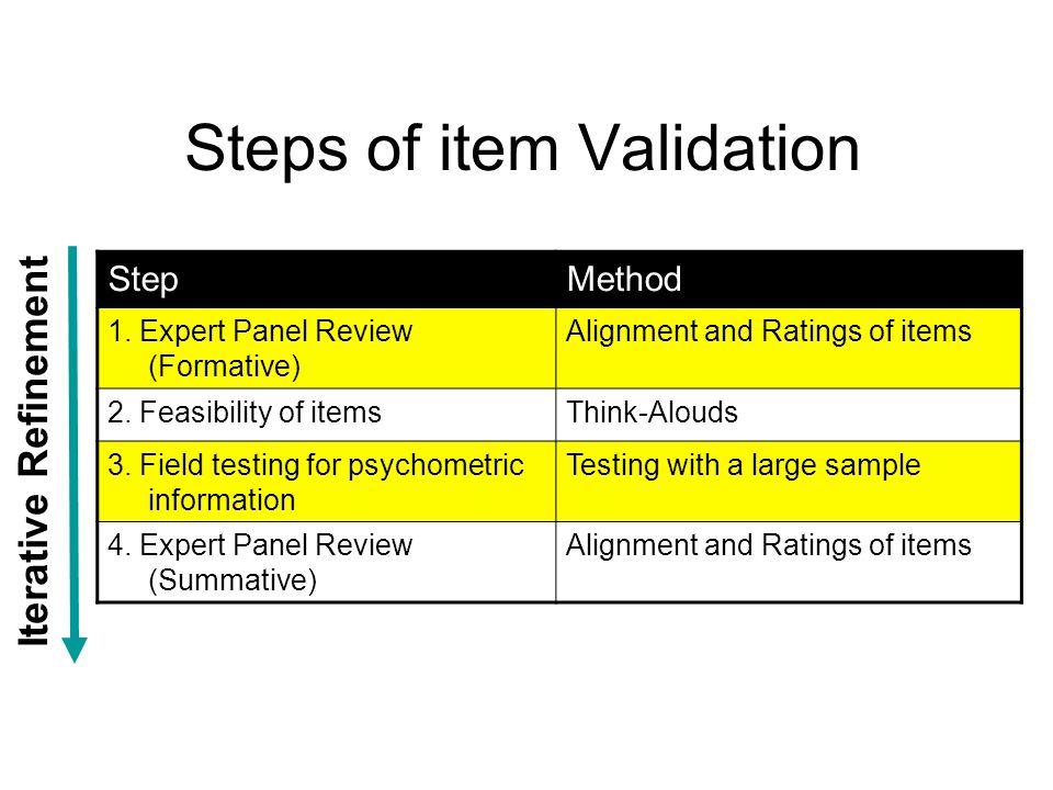 Steps of item Validation StepMethod 1.